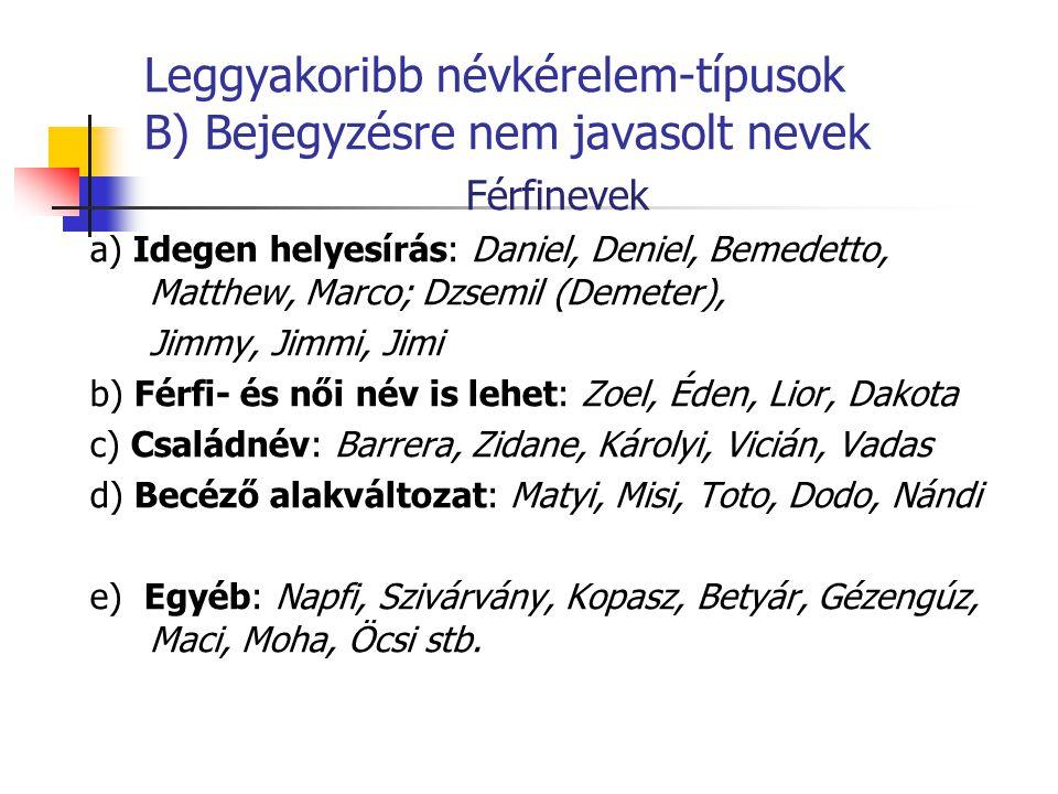 Leggyakoribb névkérelem-típusok B) Bejegyzésre nem javasolt nevek