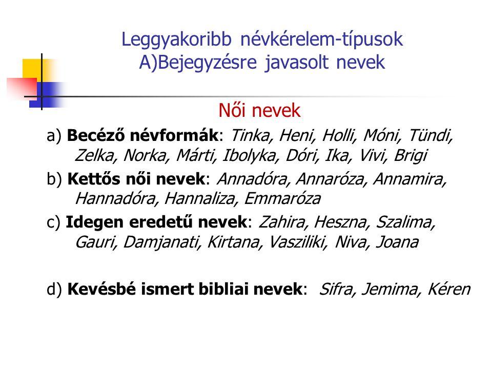 Leggyakoribb névkérelem-típusok A)Bejegyzésre javasolt nevek