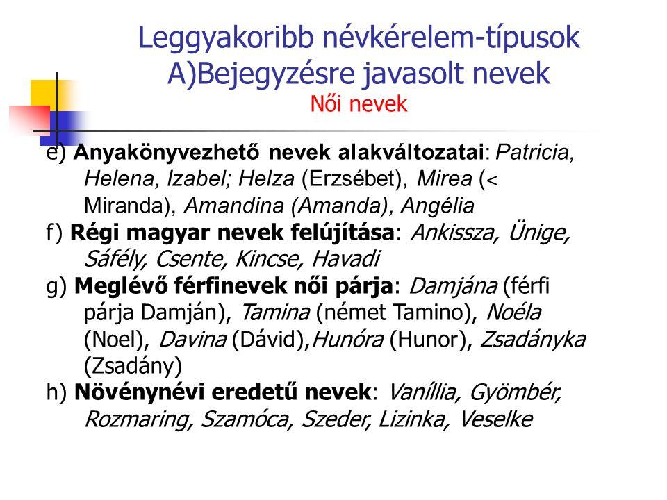 Leggyakoribb névkérelem-típusok A)Bejegyzésre javasolt nevek Női nevek