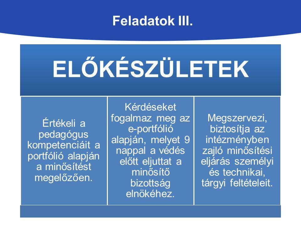 ELŐKÉSZÜLETEK Feladatok III.