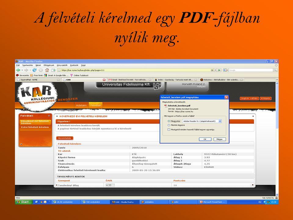 A felvételi kérelmed egy PDF-fájlban nyílik meg.