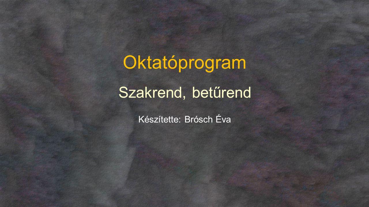 Oktatóprogram Szakrend, betűrend