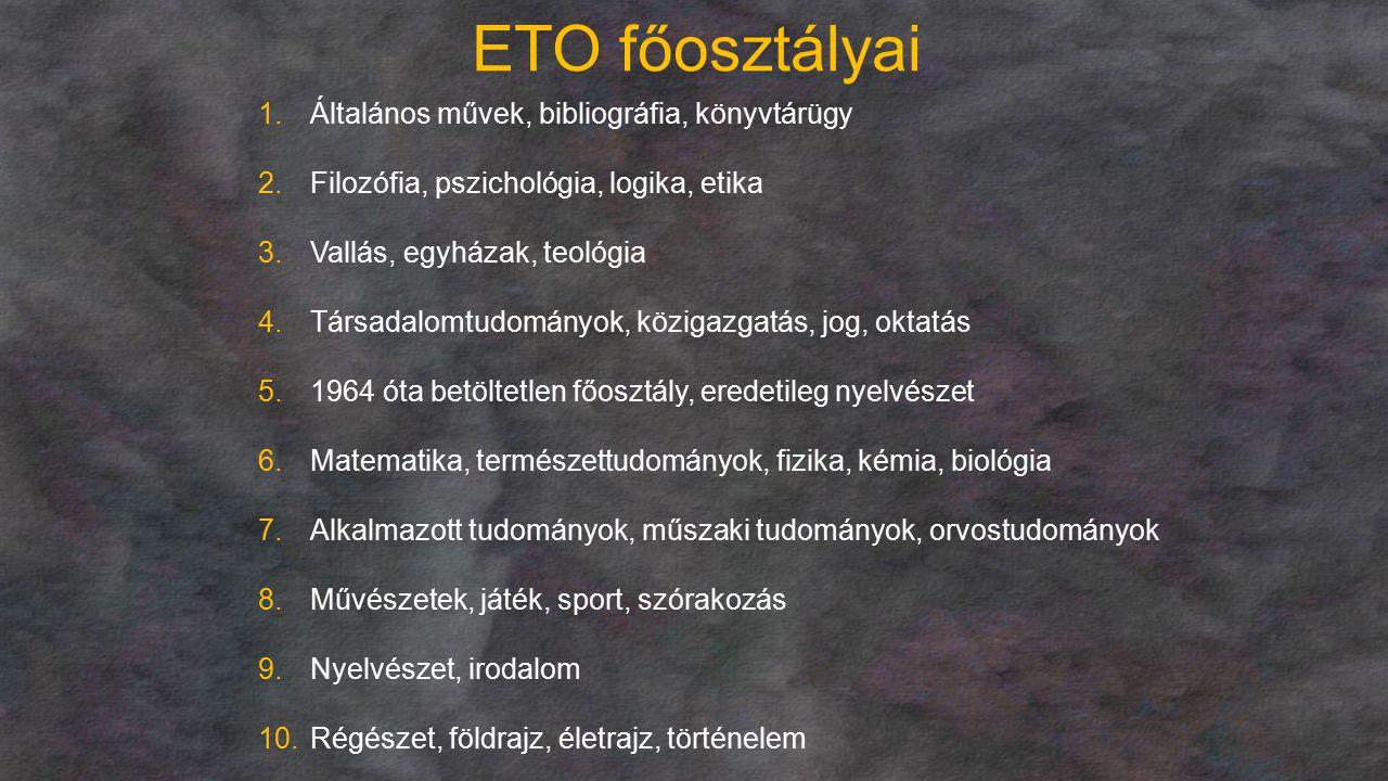 ETO főosztályai Általános művek, bibliográfia, könyvtárügy