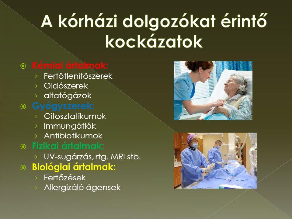 A kórházi dolgozókat érintő kockázatok
