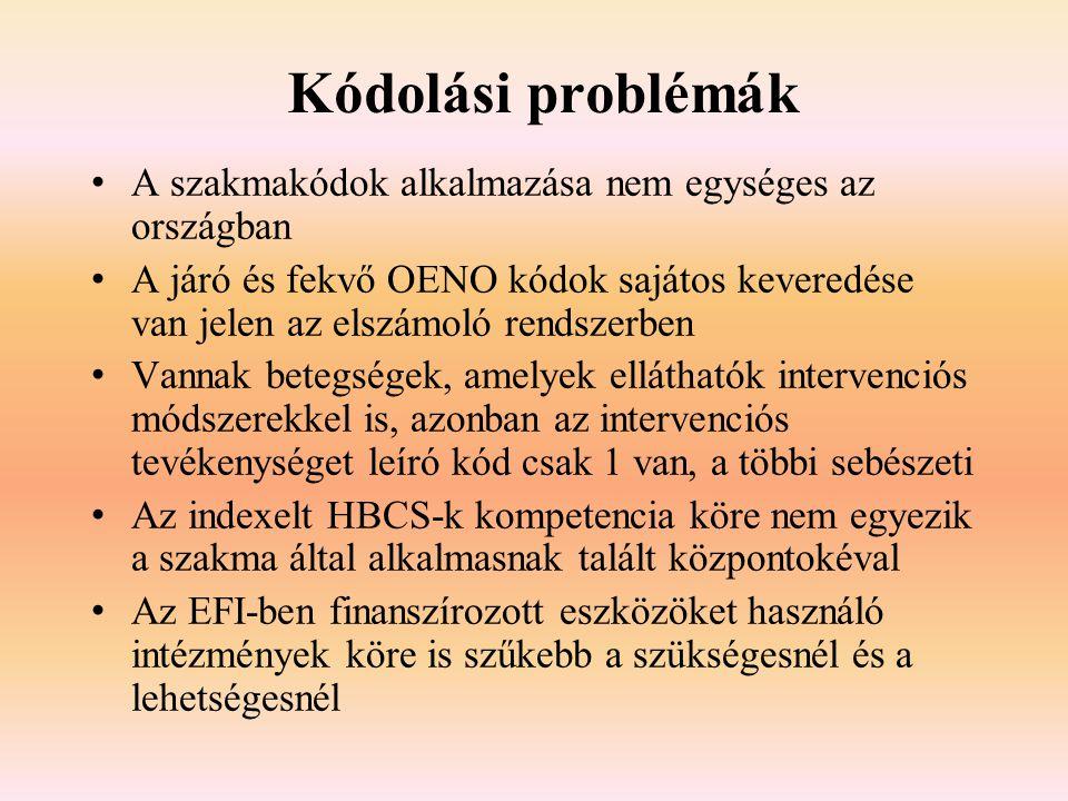 Kódolási problémák A szakmakódok alkalmazása nem egységes az országban