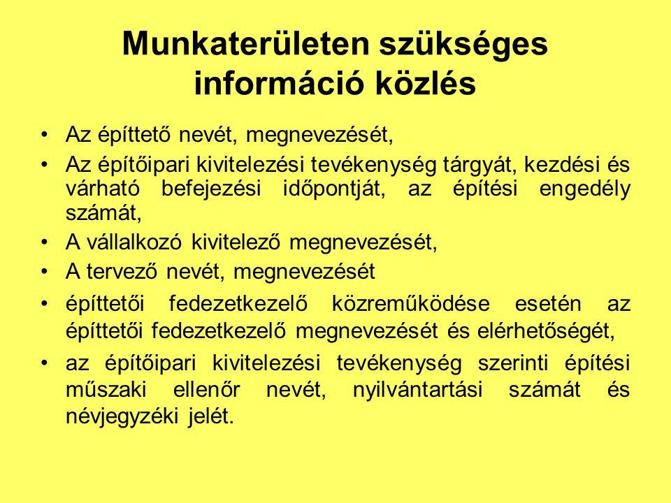Munkaterületen szükséges információ közlés
