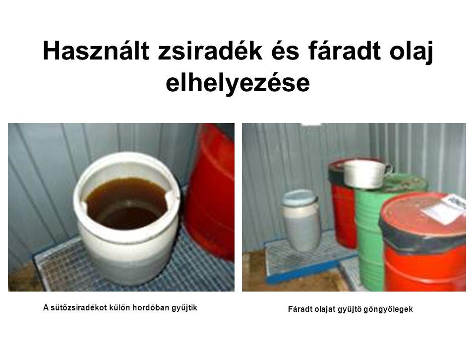 Használt zsiradék és fáradt olaj elhelyezése