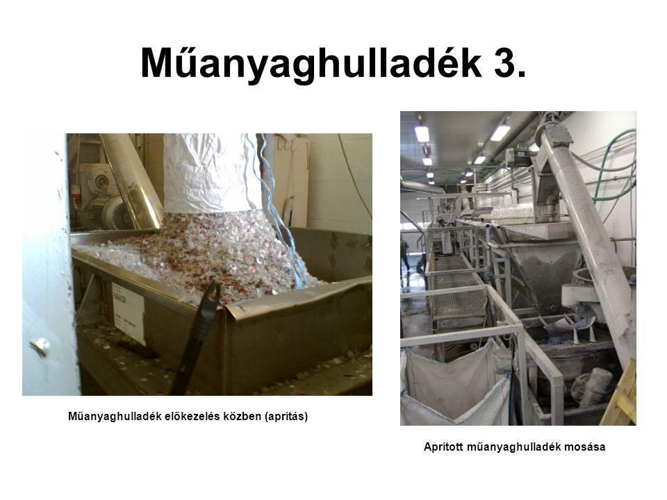 Műanyaghulladék 3. Műanyaghulladék előkezelés közben (aprítás)