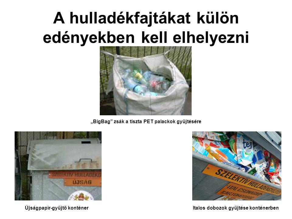 A hulladékfajtákat külön edényekben kell elhelyezni