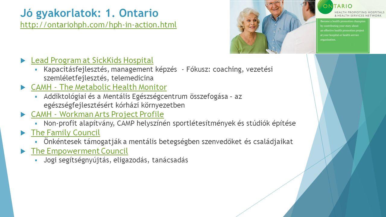 Jó gyakorlatok: 1. Ontario http://ontariohph.com/hph-in-action.html