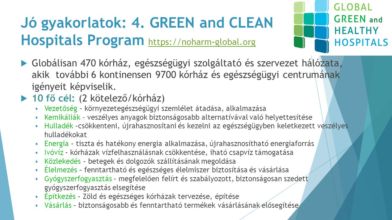 Jó gyakorlatok: 4. GREEN and CLEAN Hospitals Program https://noharm-global.org