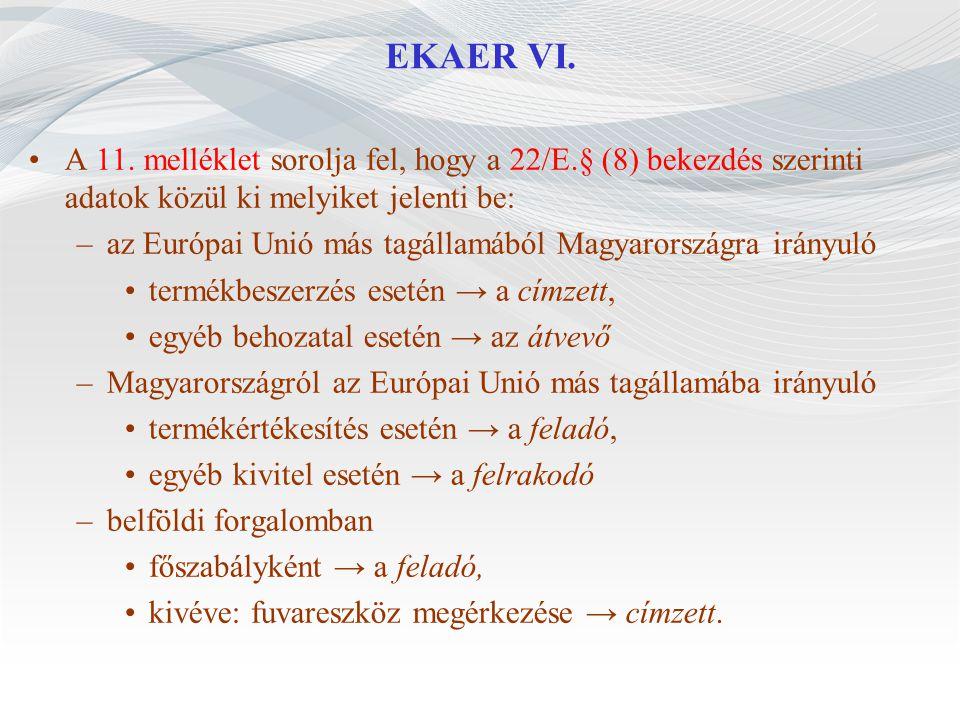 EKAER VI. A 11. melléklet sorolja fel, hogy a 22/E.§ (8) bekezdés szerinti adatok közül ki melyiket jelenti be: