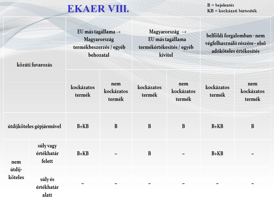 EKAER VIII. B = bejelentés KB = kockázati biztosíték