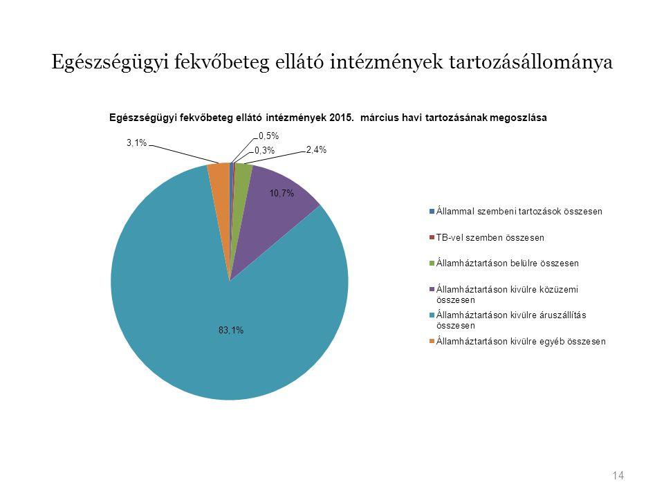 Egészségügyi fekvőbeteg ellátó intézmények tartozásállománya