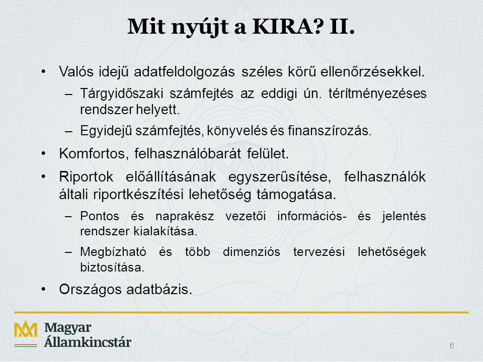 Mit nyújt a KIRA II. Valós idejű adatfeldolgozás széles körű ellenőrzésekkel.