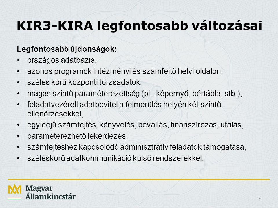 KIR3-KIRA legfontosabb változásai