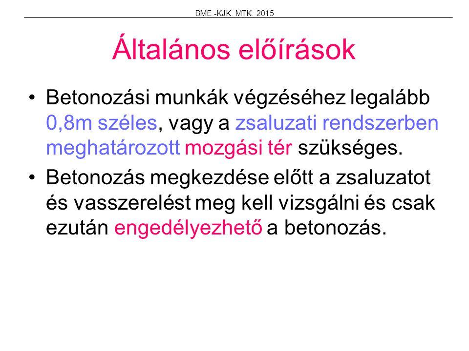 BME.-KJK. MTK. 2015 Általános előírások.