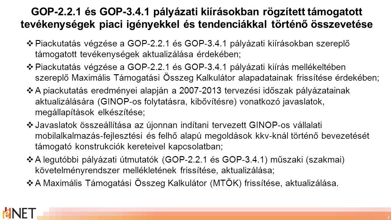 GOP-2.2.1 és GOP-3.4.1 pályázati kiírásokban rögzített támogatott tevékenységek piaci igényekkel és tendenciákkal történő összevetése