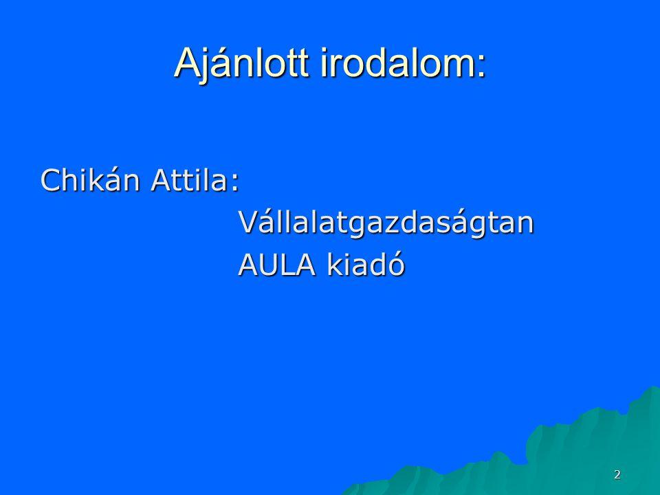 Ajánlott irodalom: Chikán Attila: Vállalatgazdaságtan AULA kiadó