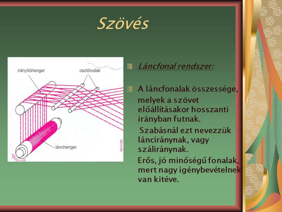 Szövés Láncfonal rendszer: A láncfonalak összessége,