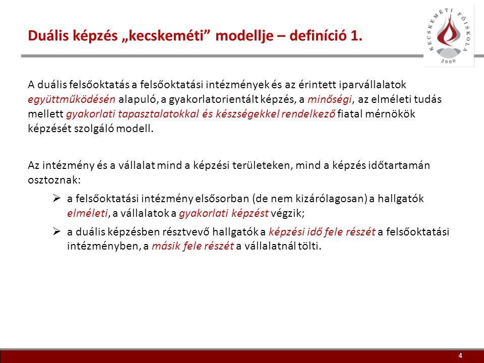 """Duális képzés """"kecskeméti modellje – definíció 1."""