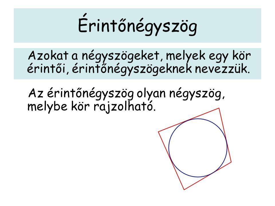 Érintőnégyszög Azokat a négyszögeket, melyek egy kör érintői, érintőnégyszögeknek nevezzük.
