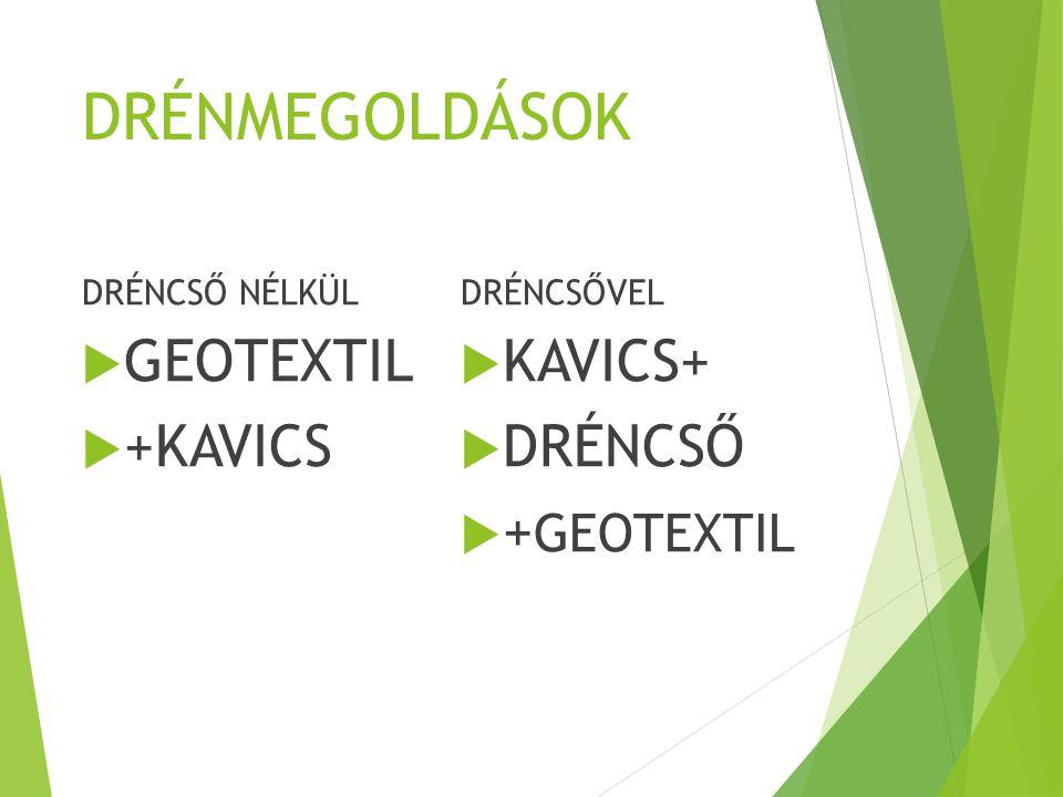 DRÉNMEGOLDÁSOK GEOTEXTIL +KAVICS KAVICS+ DRÉNCSŐ +GEOTEXTIL
