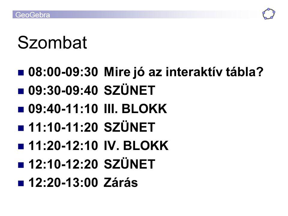 Szombat 08:00-09:30 Mire jó az interaktív tábla 09:30-09:40 SZÜNET