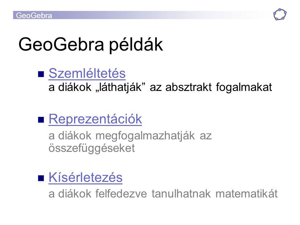 """GeoGebra példák Szemléltetés a diákok """"láthatják az absztrakt fogalmakat. Reprezentációk. a diákok megfogalmazhatják az összefüggéseket."""