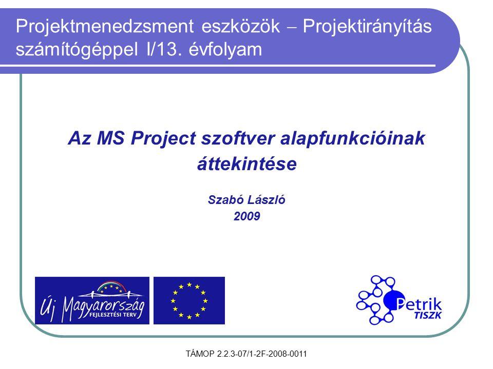 Az MS Project szoftver alapfunkcióinak