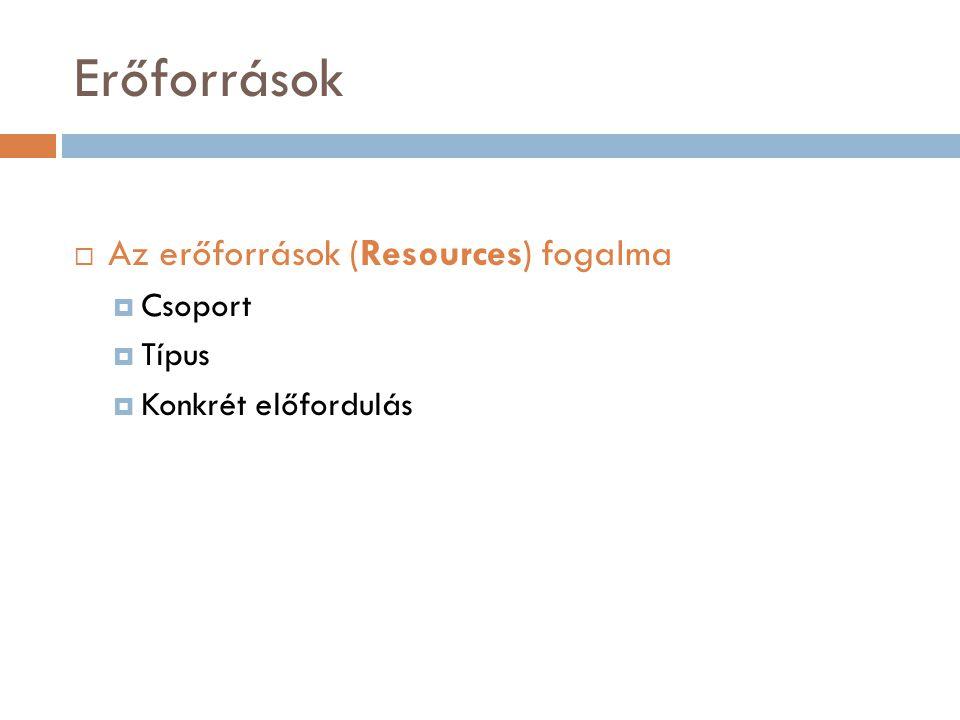 Erőforrások Az erőforrások (Resources) fogalma Csoport Típus