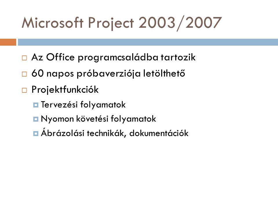 Microsoft Project 2003/2007 Az Office programcsaládba tartozik