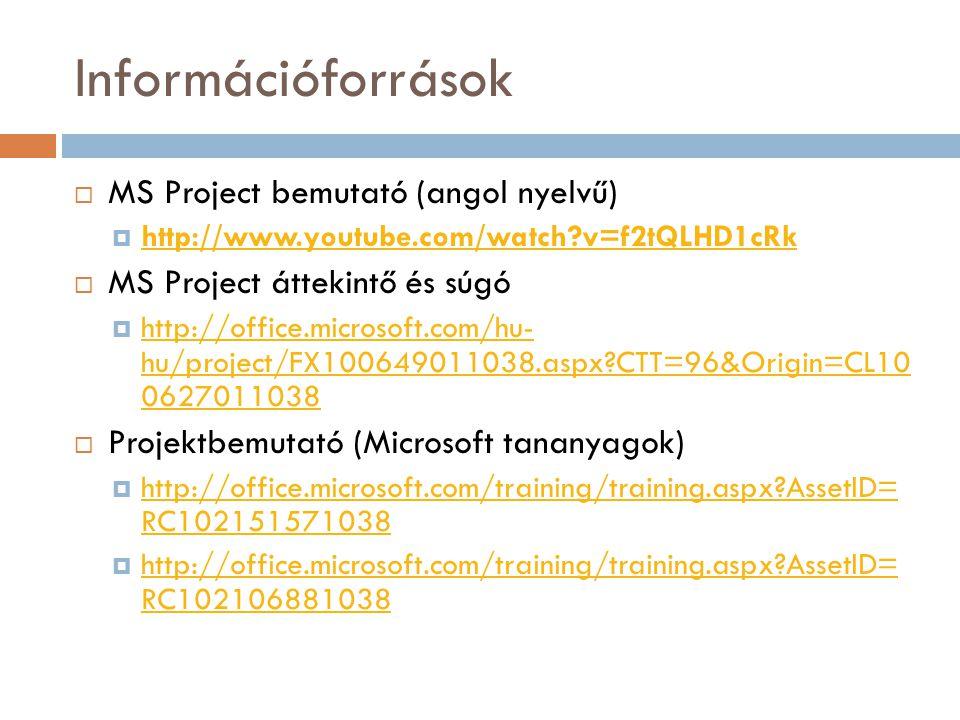 Információforrások MS Project bemutató (angol nyelvű)
