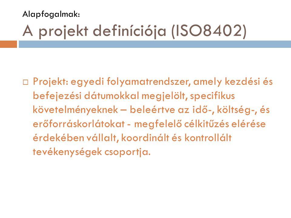 Alapfogalmak: A projekt definíciója (ISO8402)