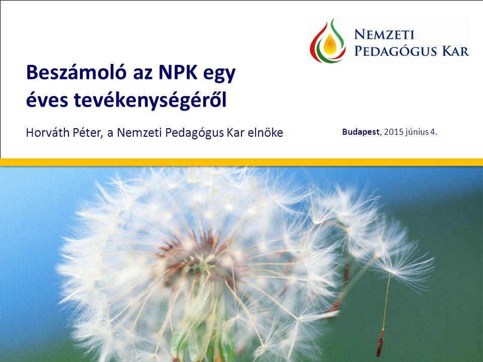 Beszámoló az NPK egy éves tevékenységéről