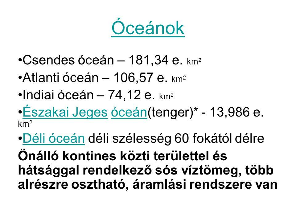 Óceánok Csendes óceán – 181,34 e. km2 Atlanti óceán – 106,57 e. km2
