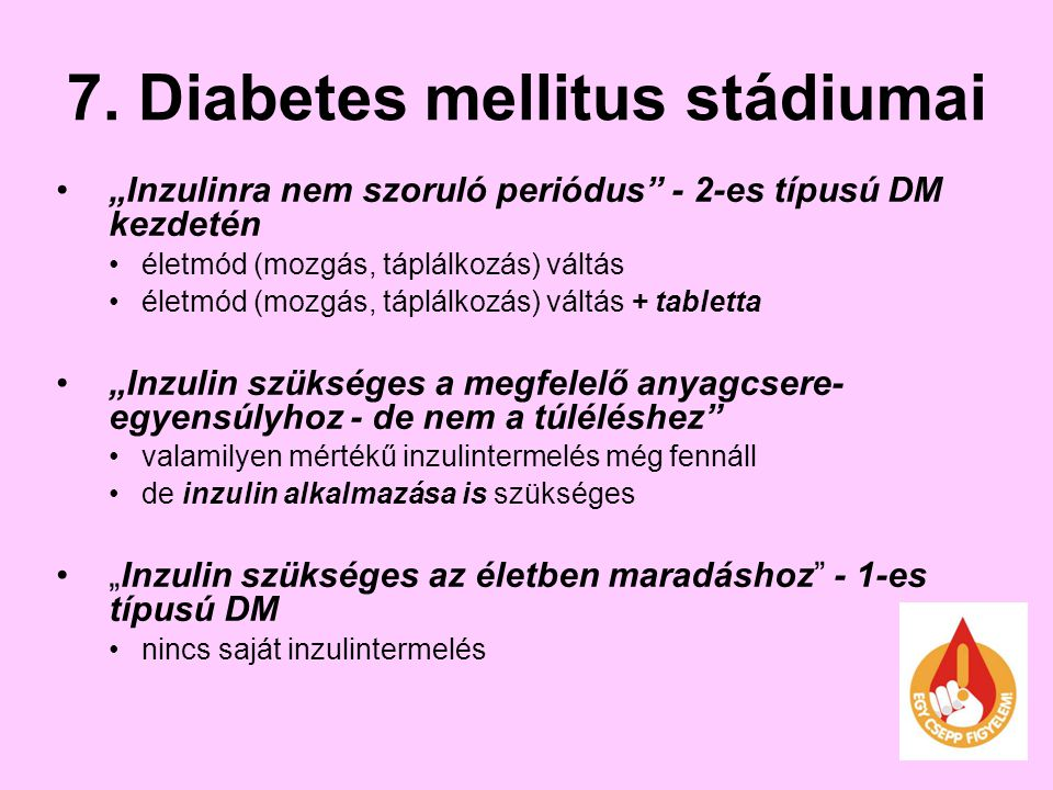 7. Diabetes mellitus stádiumai
