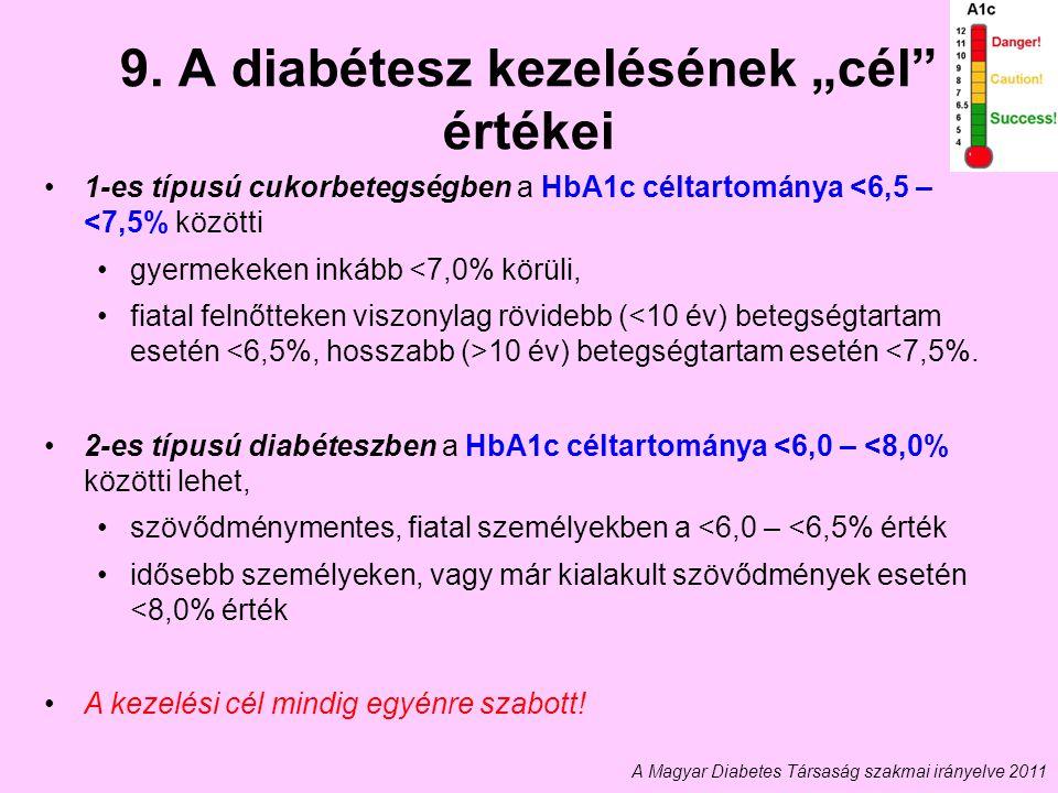 """9. A diabétesz kezelésének """"cél értékei"""