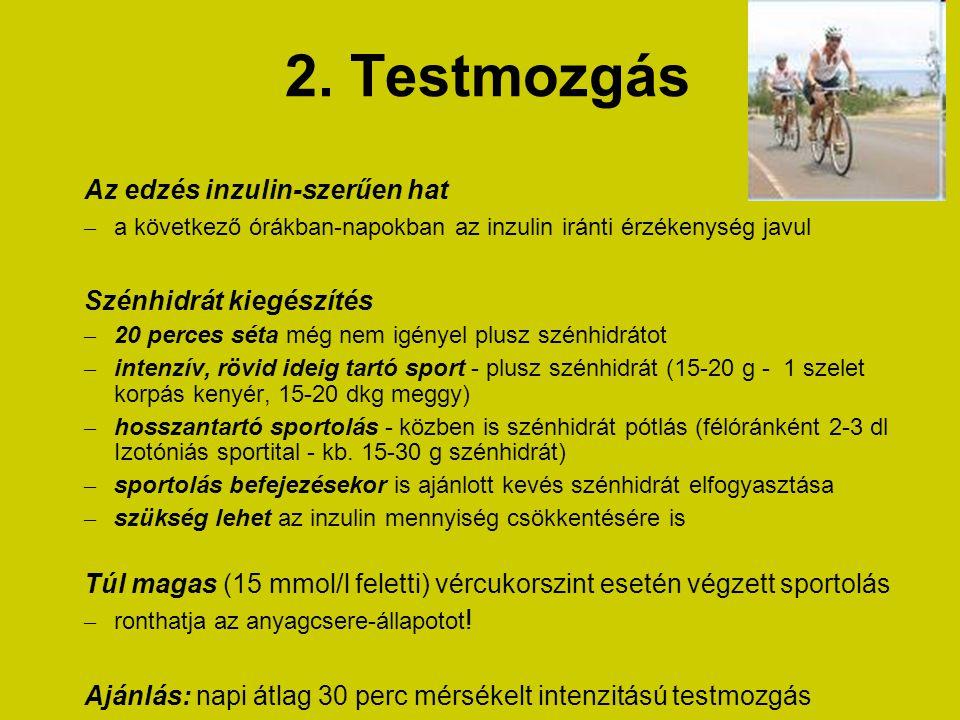 2. Testmozgás Az edzés inzulin-szerűen hat Szénhidrát kiegészítés