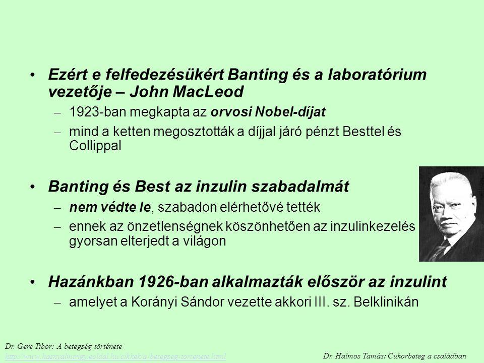 Banting és Best az inzulin szabadalmát