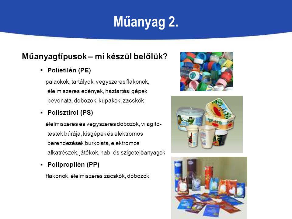 Műanyag 2. Műanyagtípusok – mi készül belőlük Polietilén (PE)