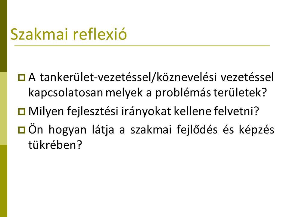 Szakmai reflexió A tankerület-vezetéssel/köznevelési vezetéssel kapcsolatosan melyek a problémás területek
