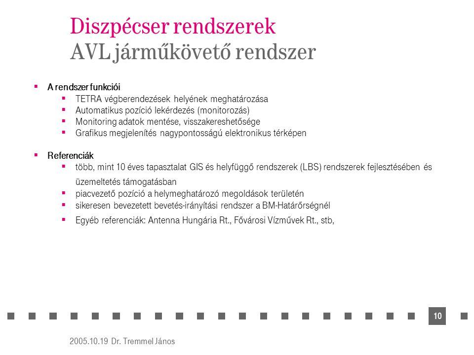 Diszpécser rendszerek AVL járműkövető rendszer