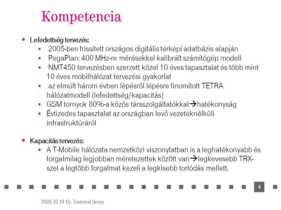 Dr. Tremmel János 2005.10.19. Kompetencia. Lefedettség tervezés: 2005-ben frissített országos digitális térképi adatbázis alapján.