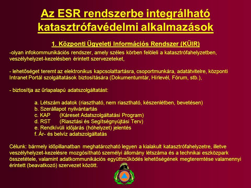 Az ESR rendszerbe integrálható katasztrófavédelmi alkalmazások