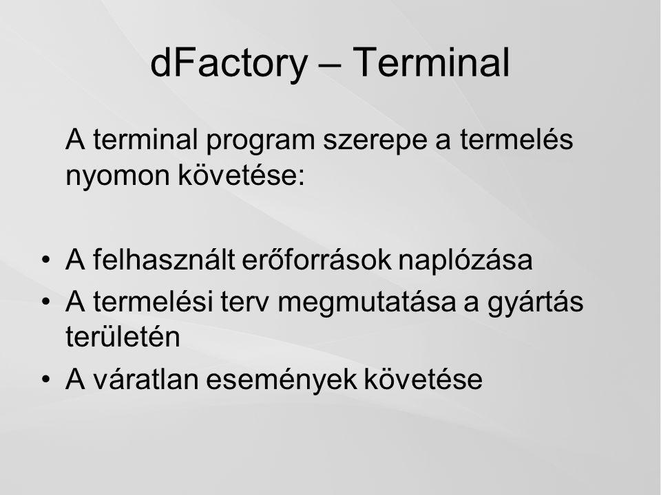 dFactory – Terminal A terminal program szerepe a termelés nyomon követése: A felhasznált erőforrások naplózása.