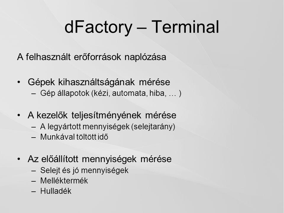 dFactory – Terminal A felhasznált erőforrások naplózása