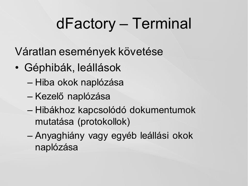 dFactory – Terminal Váratlan események követése Géphibák, leállások