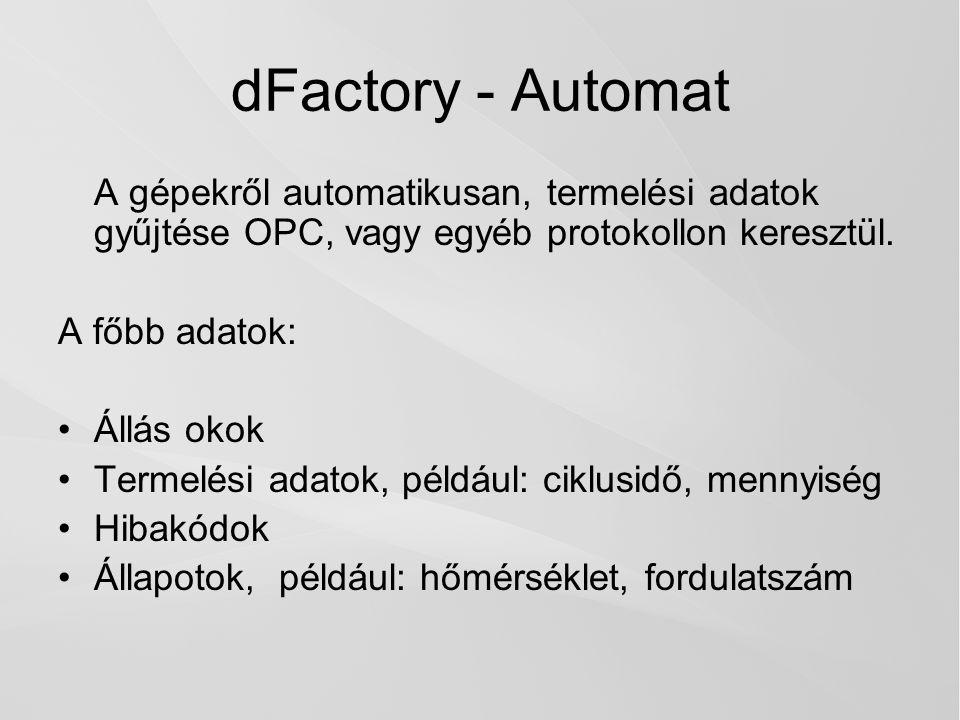 dFactory - Automat A gépekről automatikusan, termelési adatok gyűjtése OPC, vagy egyéb protokollon keresztül.