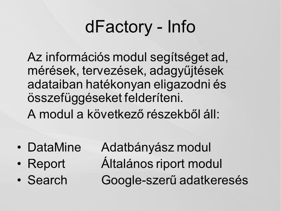 dFactory - Info Az információs modul segítséget ad, mérések, tervezések, adagyűjtések adataiban hatékonyan eligazodni és összefüggéseket felderíteni.